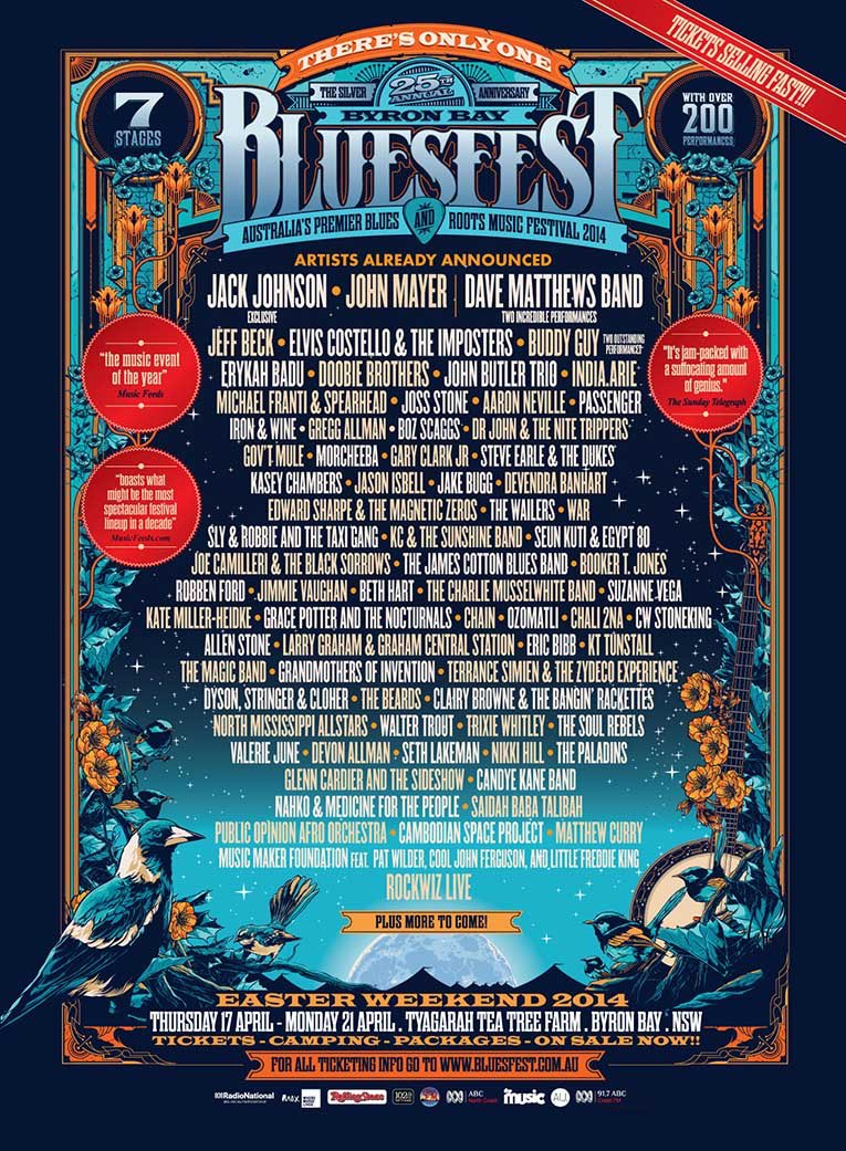 Byron Bay Bluesfest 2014 Lineup Poster