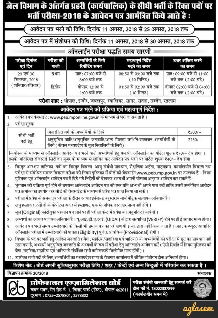 MP Jail Prahari Recruitment Notification 2018