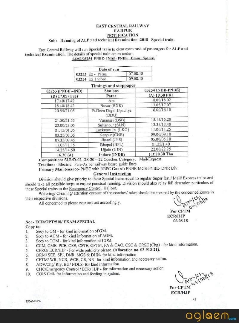 Indian Railway Starts RRB Exam Special Train 03241-03242 / 03253-03254