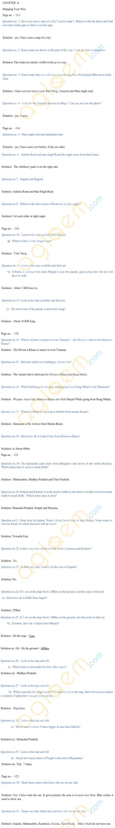 NCERT Solutions Class 5 Mathematics Chapter 8 Mapping Your