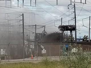 burning electric station