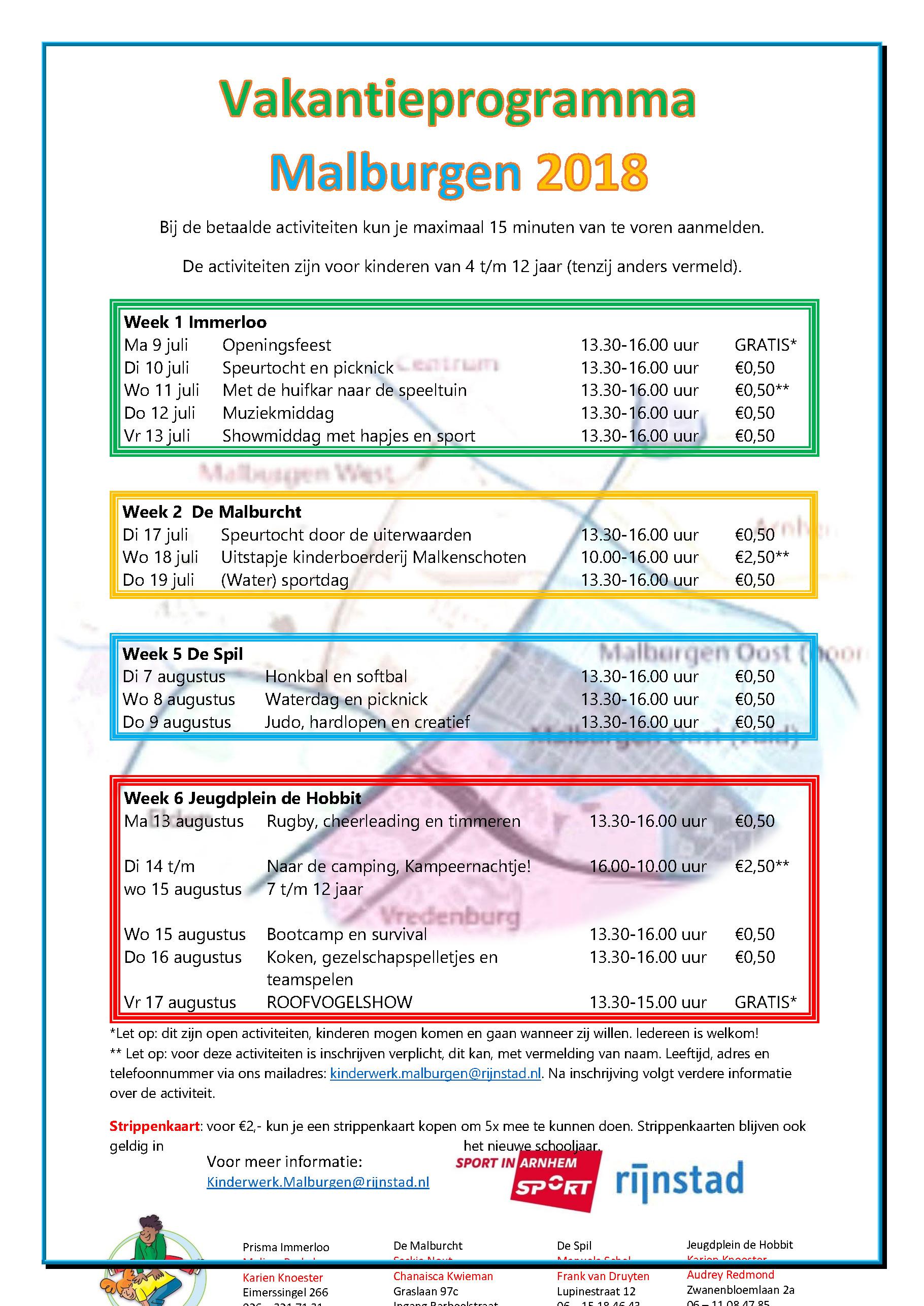 zomervakantie activiteitenprogramma