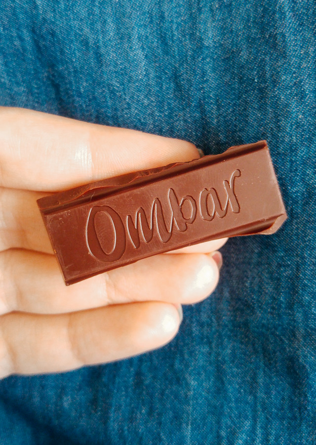 a slice of ombar chocolate