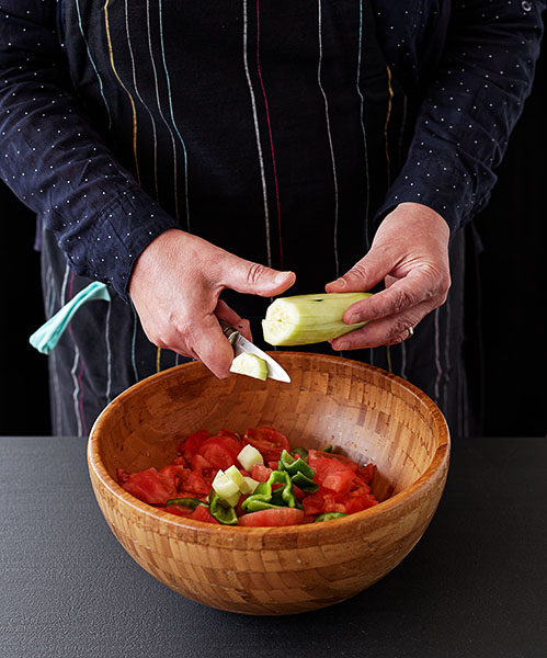 Corte de las verduras