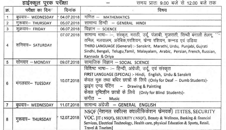 MP Board 10th Supplementary Time Table 2018