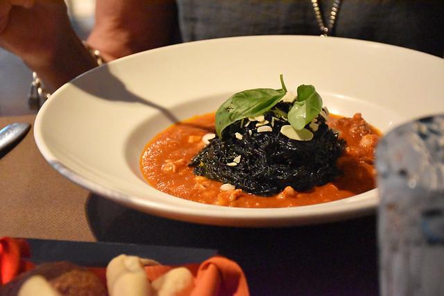 Black noodles, pesto and almonds in seafood sauceImpronta Cafe, Dorsoduro, Venice
