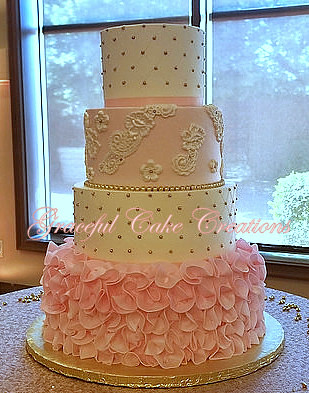 Elegant White Blush Pink And Gold Quinceanera Cake Flickr