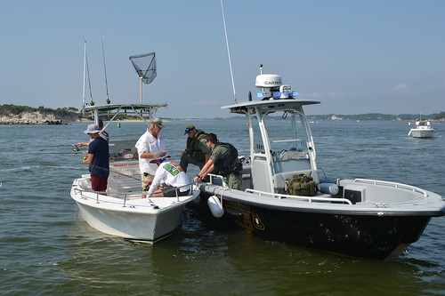 Photo of Maryland Natural Resources Police conducting a boating safety check