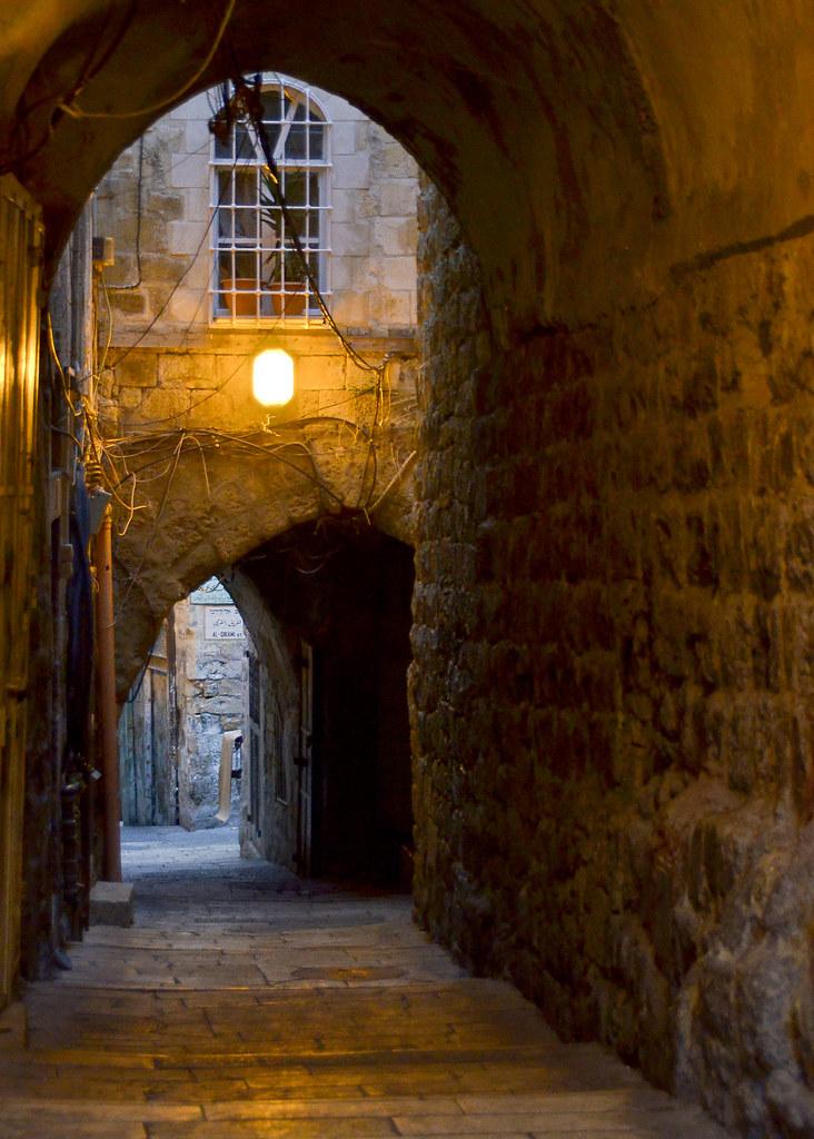 Callejones de Jerusalén en la noche