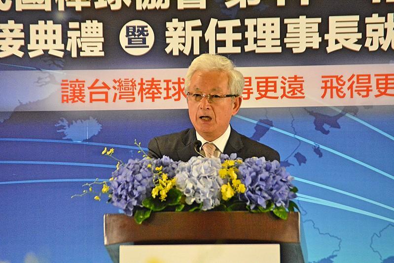 甫接任日本棒協理事長山中正竹親自來台祝賀。(中華棒球協會提供)