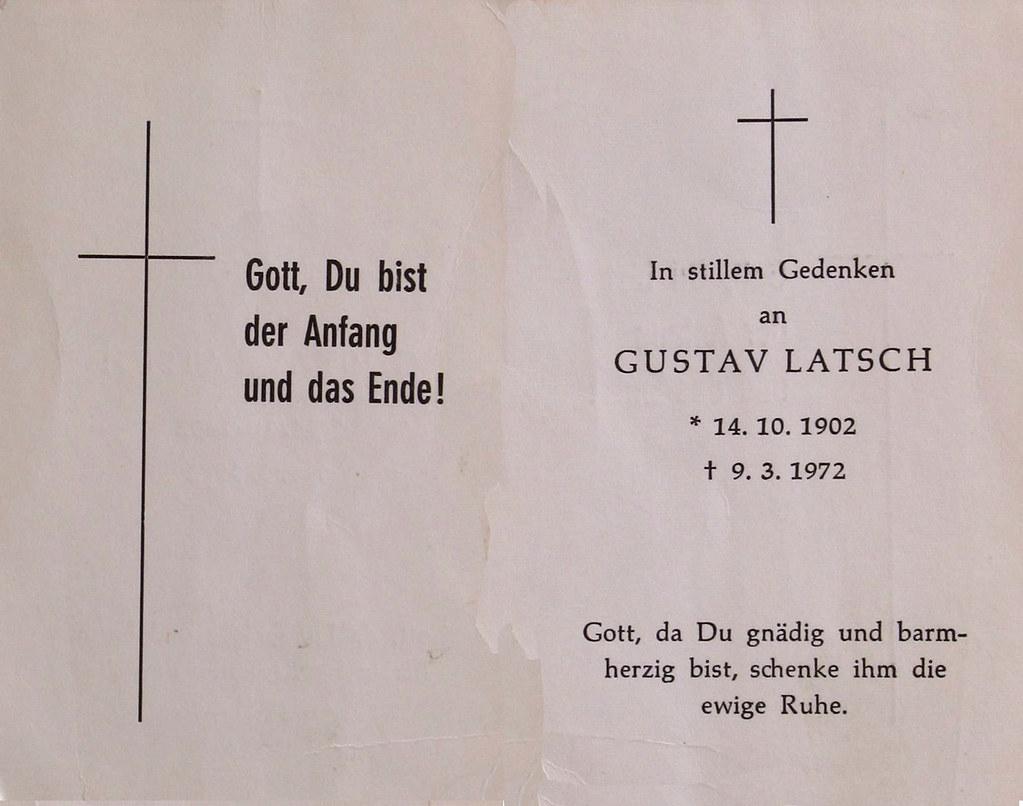 Totenzettel Latsch, Gustav † 09.03.1972