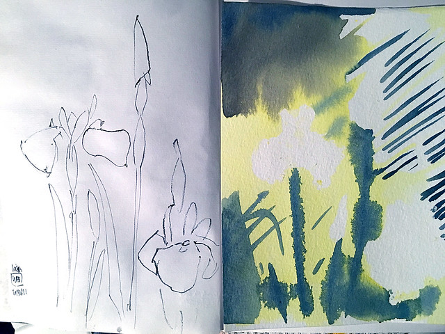 Sketch and watercolour painting