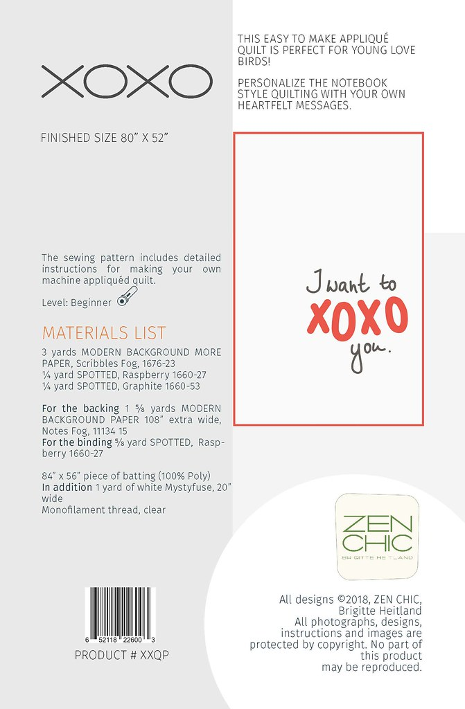 XOXO Quilt Pattern by Zen chic