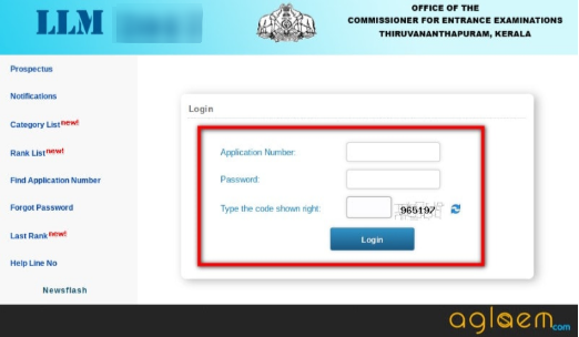 Kerala LLM 2019 Admit Card