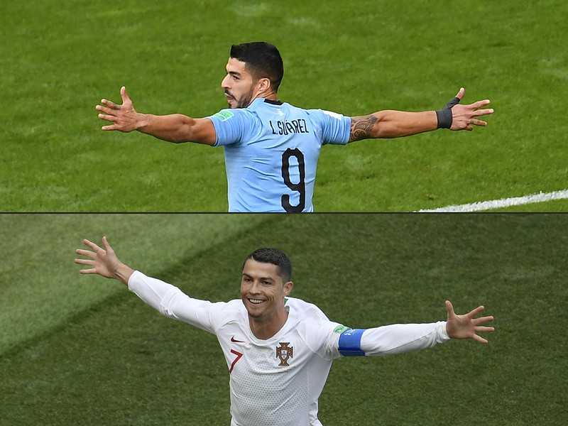 Cristiano Ronaldo和Luis Suarez將在16強賽交手。(AFP授權)