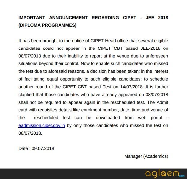 CIPET JEE 2018