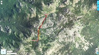 Photo 3D Géoportail du secteur Apaseu - Uovacce en Cagne avec les traces prévues et suivies le 10/07/2018