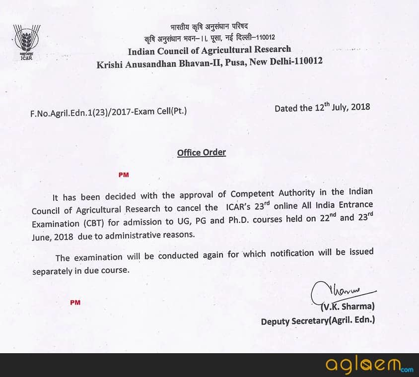 23rd ICAR AIEEA 2018 Exam Cancelled; Re-Exam Notice to be Released Soon
