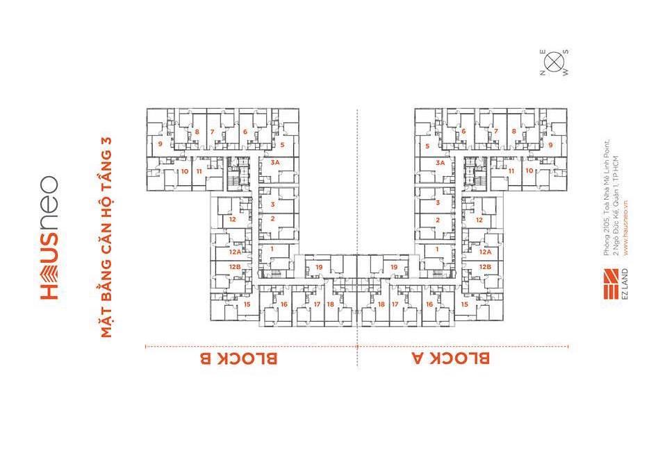 Mặt bằng tầng và thiết kế căn hộ Hausneo 36