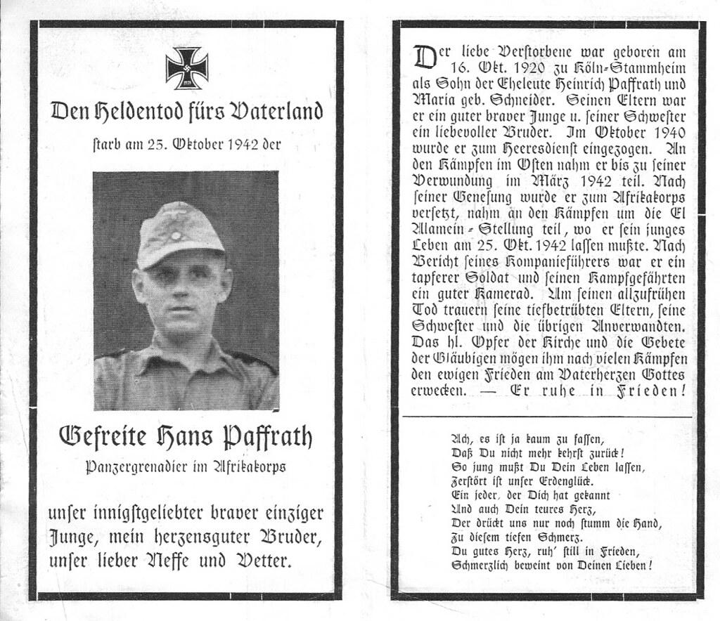 Totenzettel Paffrath, Hans † 25.10.1942