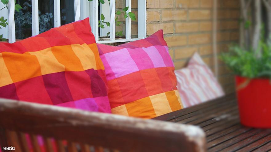 decoración textil terraza ático