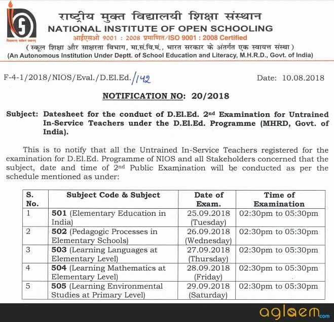 NIOS D.El.Ed 2018 Exam Dates Released; 2nd Exam From 25 Sep