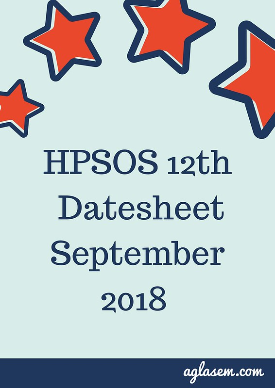 HPSOS 12th Date Sheet September 2018