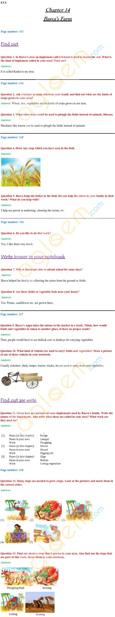 NCERT Solutions Class 4 EVS Chapter 14 Basva's Farm – NCERT – Books