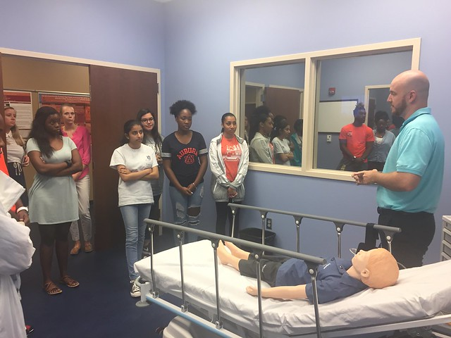 STEM Summer Bridge participants in a classroom at the Edward Via College of Osteopathic Medicine.