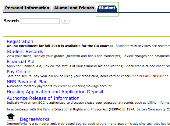 Screenshot of Student Tab screen in PAWS account