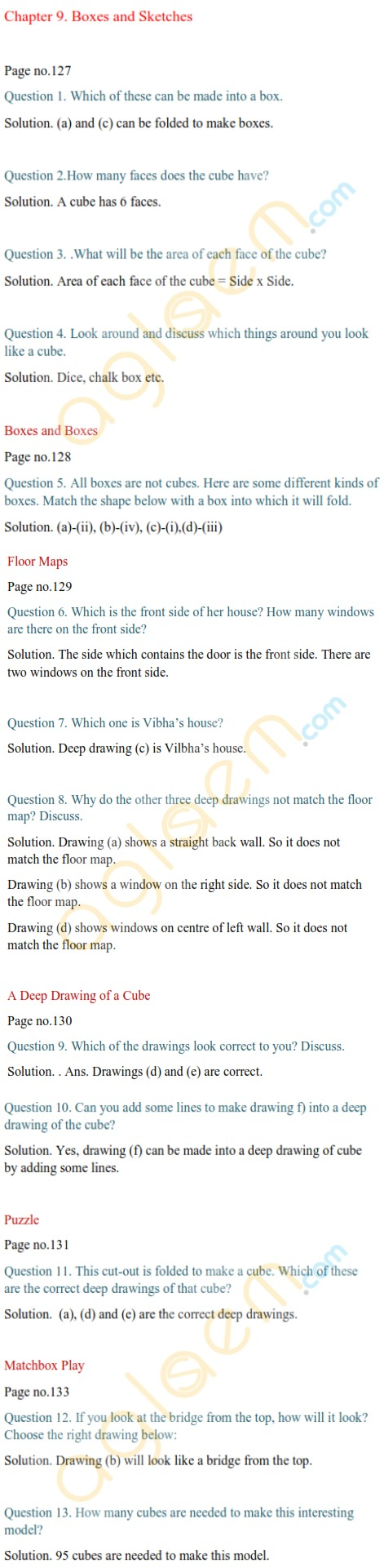 Ncert Solutions Class 5 Mathematics Chapter 9 Boxes And Sketches