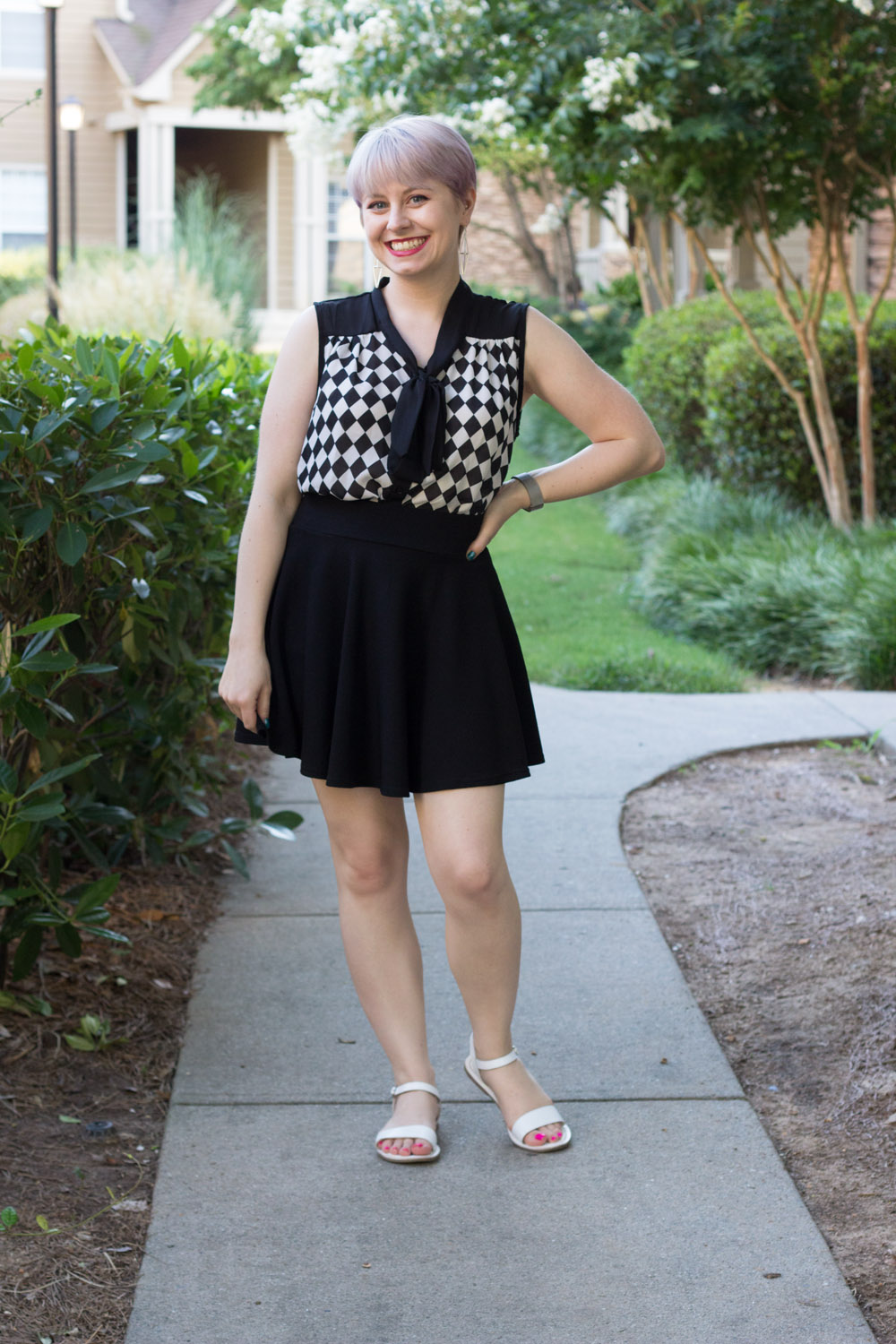 Checkerboard print top from Boohoo with a black skater skirt