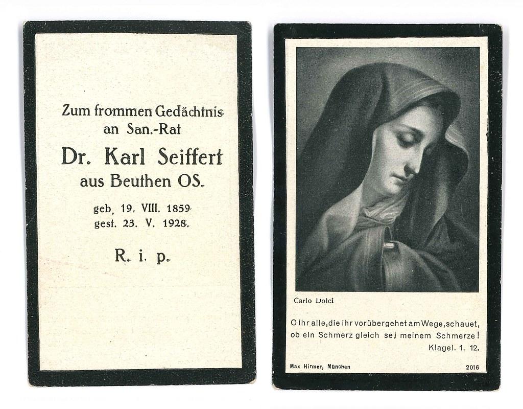 Totenzettel Seiffert, Karl Franz Alfons † 23.05.1928