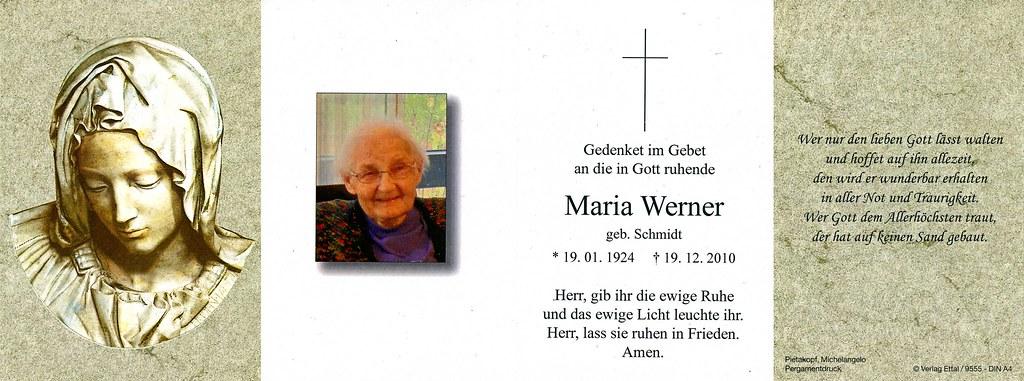 Totenzettel Werner, Maria † 19.12.2010
