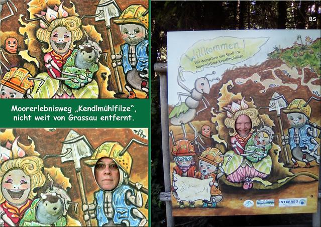 """""""Fotokulisse, Porträtkulisse, Scherzkulisse"""" - Holzplatte mit runden Aussparungen für Gesichter ... Foto: Brigitte Stolle 2018"""