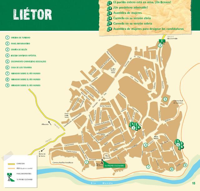 Mapa de Liétor dentro de la ruta de Amanece que no es poco