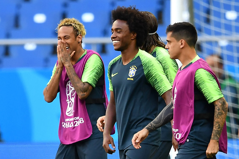 Neymar(圖左)與Willian(圖中)會是巴西倚重的進攻要角(AFP授權)