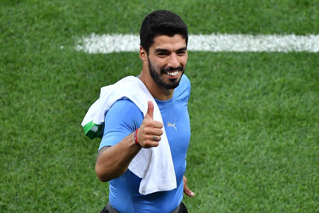 Luis Suarez在生涯第100場國際賽攻進致勝1球。(AFP授權)