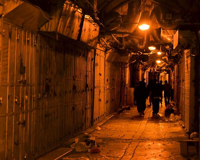 Zocos de noche en la ciudad vieja de Jerusalén