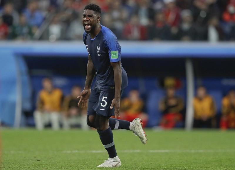 法國後衛Samuel Umtiti踢進致勝球。(達志影像)