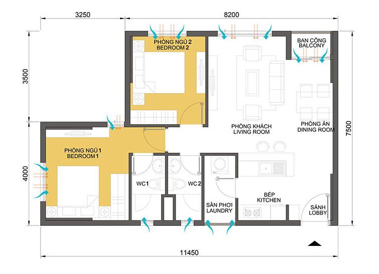 Mặt bằng thiết kế căn hộ Masteri Thảo Điền