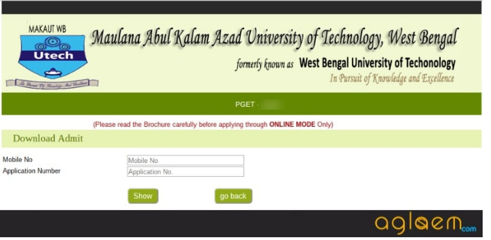 WBUT PGET 2019 Admit Card