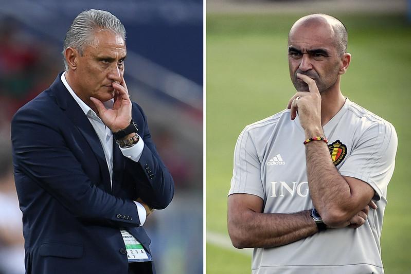 巴西教頭Tite(圖左)想在90分鐘後擊敗由Roberto Martinez執教的比利時。(AFP授權)