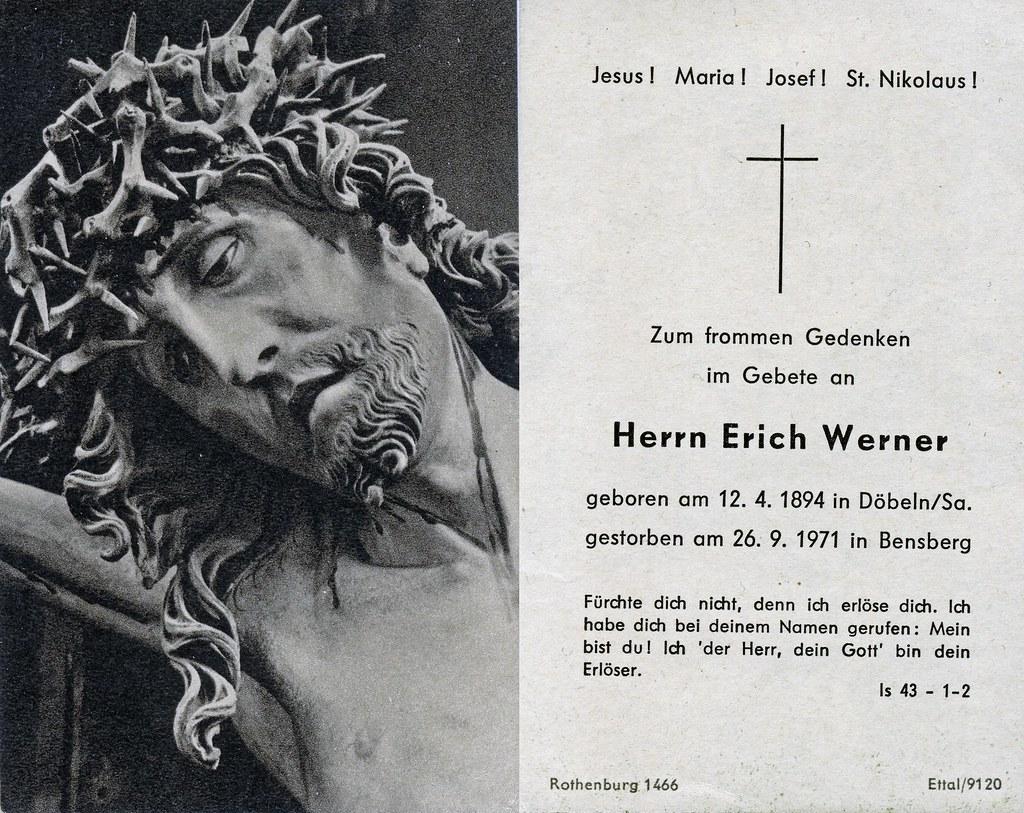 Totenzettel Werner, Erich † 26.09.1971