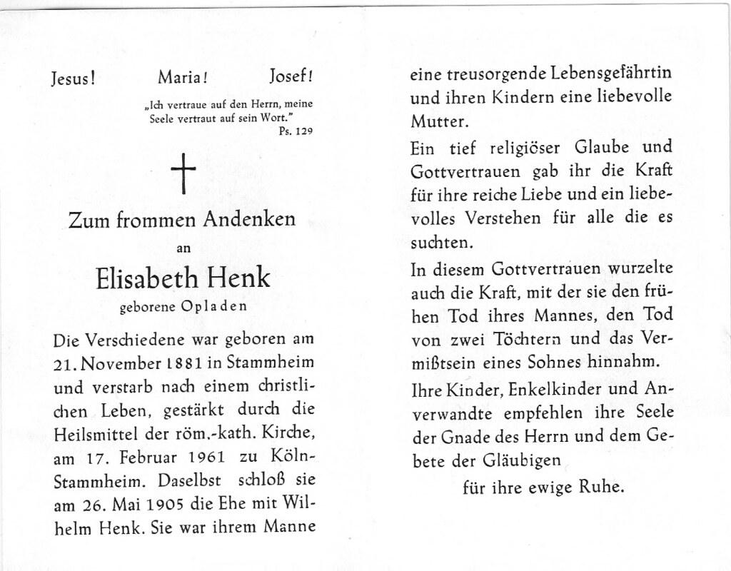 Totenzettel Henk, Elisabeth † 17.02.1961