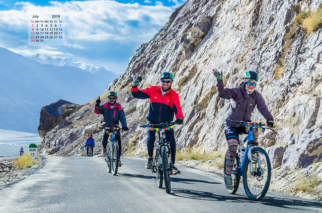 Free download July 2018 Calendar Wallpaper Cycling In Ladakh