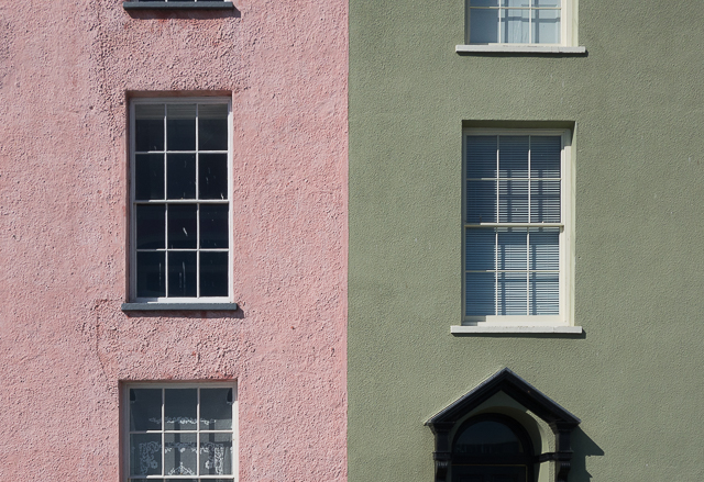 pink and green townhouses