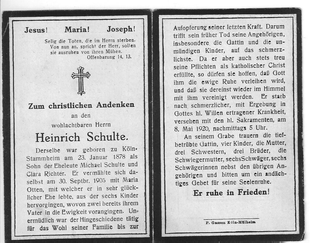 Totenzettel Schulte, Heinrich † 08.05.1920