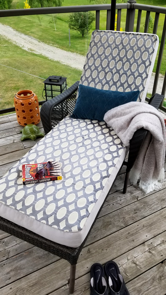 recovered patio lounge cushion