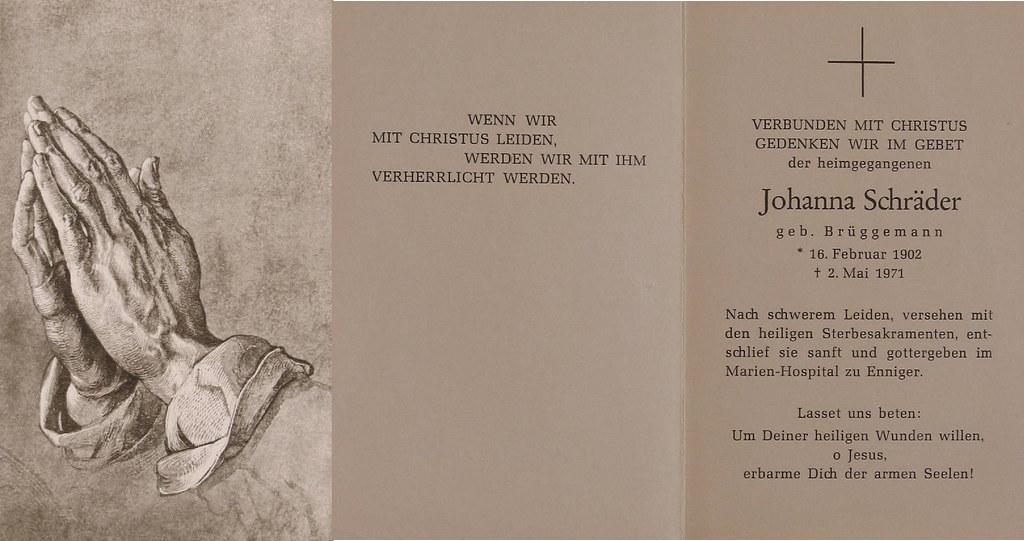Totenzettel Brüggemann, Johanna † 02.05.1971